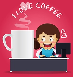 Woman working on computer with big coffee cup vector image vector image