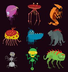 aliens monsters set graphic mutant vector image