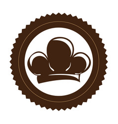 brown stamp border with silhouette chef hat vector image