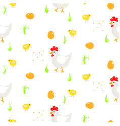 Cartoon rooster country seamless pattern vector
