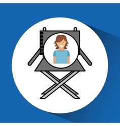 cheerful girl cinema chair megaphone icon design vector image