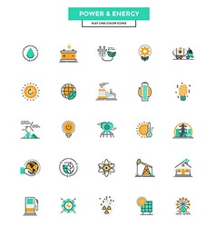 Flat Line Color Icons Power and Energy vector image vector image