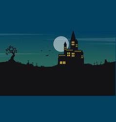 Halloween landscape castle and moon vector