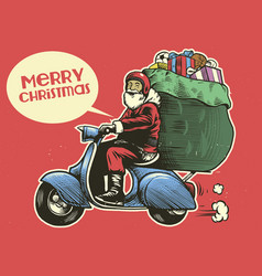 hand drawing style of santa claus ride a scooter vector image