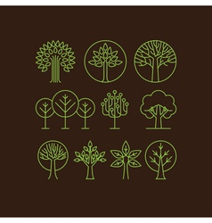 organic tree icons vector image vector image