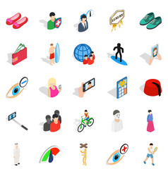 body training icons set isometric style vector image vector image