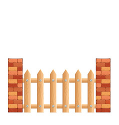 cartoon rural wooden fence vector image