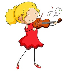 Girl in red dress playing violin vector image