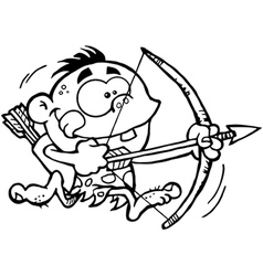 Neanderthal kid with bow and arrow vector image vector image