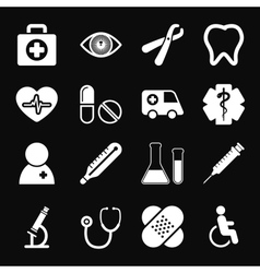 White Medical Icons Set vector image