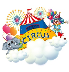An elephant and a clown with a circus signage in vector image vector image