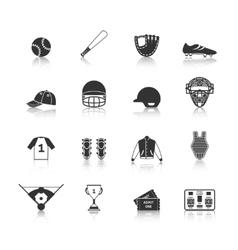 Baseball Icons Set Black vector image vector image
