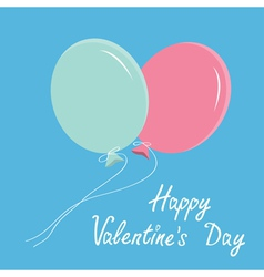 Blue and pink balloons Happy Valentines Day vector image vector image
