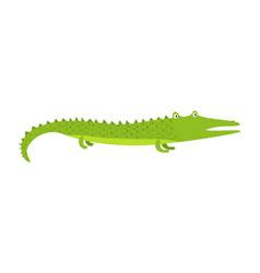 cute cartoon green long crocodile with short legs vector image