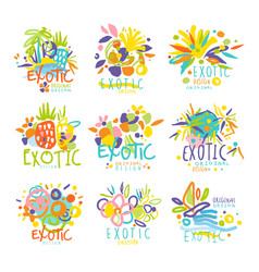 exotic summer travel set of logo graphic vector image