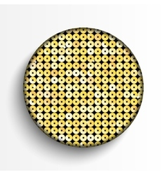 Gold sequin circle button on white background vector
