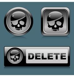 Set web buttons delete vector image vector image