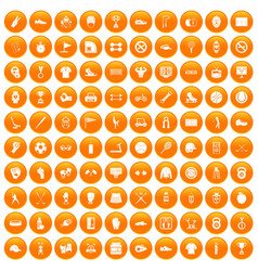 100 sport equipment icons set orange vector image