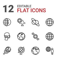 12 globe icons vector image