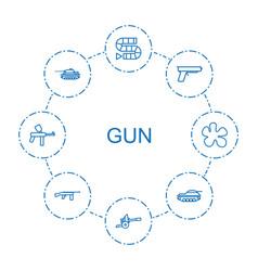8 gun icons vector