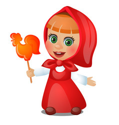 A little girl with a red scarf holding a lollipop vector