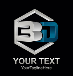 Abstract 3d text shape icon logo 3d shape vector