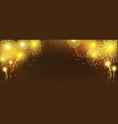 abstract golden firework on black background vector image