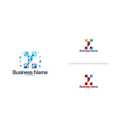 Abstract modern y pixel initial logo designs vector