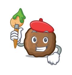 Artist meatball character cartoon style vector