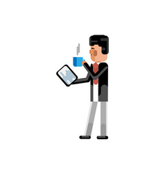 asian businessman with tablet computer vector image