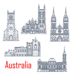 Australian landmark churches and cathedrals vector