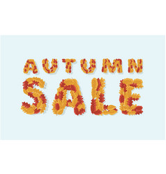 autumn sale text banner with colorful vector image