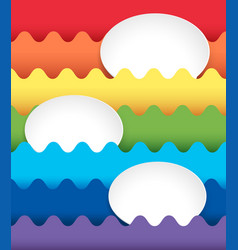 Background design with oval spaces on rainbow vector