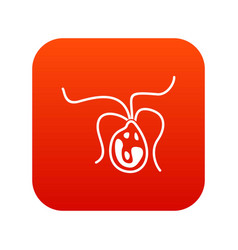 Bacterial cell icon digital red vector