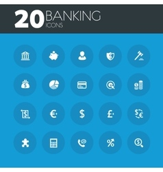 Banking icons on round blue buttons vector image
