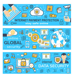 Banners of internet payment protection vector