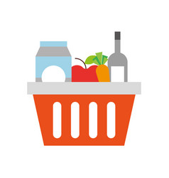 basket shopping with bottles drink products icon vector image
