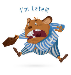 Big boss mouse late for work cartoon vector