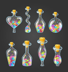Big set bottle elixir with gems vector