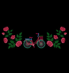 bike and roses embroidery pattern vector image