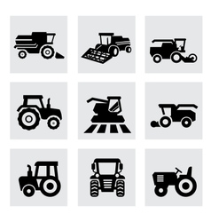 black agricultural transport icons set vector image vector image