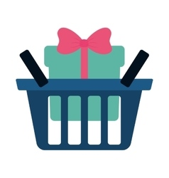 Blue basket shop with green gift box ribbon vector