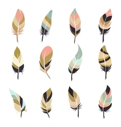 Boho style feather set vector image