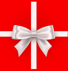 bow white tape on red background vector image