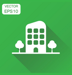 building with trees icon business concept vector image