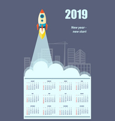 business american calendar for wall 2019 vector image