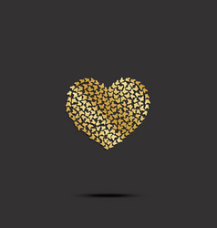 Butterflies from gold heart on black background vector