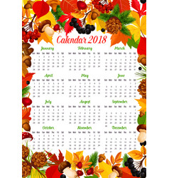 Calendar 2018 template with autumn nature frame vector