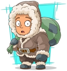 Cartoon cute little eskimo boy vector