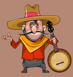 Cartoon funny male musician in a sombrero with a vector